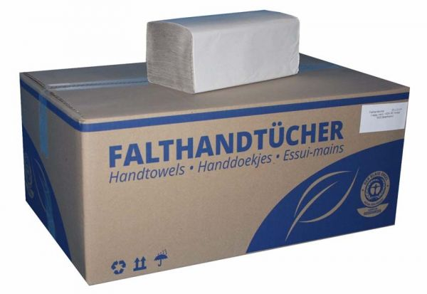 HYGIE Basic Falthandtücher, Z-Falz, 25 x 23cm, 1-lagig, 5000 Blatt, RC, Natur
